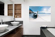 Poster foto ejemplo mares del sur con canoa