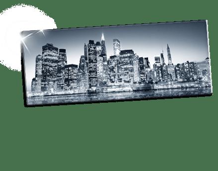footer foto metacrilato blanco y negro ejemplo ciudad