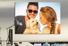 oficina foto metacrilato ejemplo pareja joven con perro
