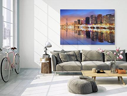 salon foto aluminio dibond ejemplo paisaje urbano reflejo