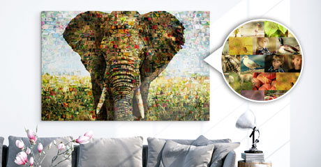 salon foto metacrilato mosaico vista ejemplo elefante