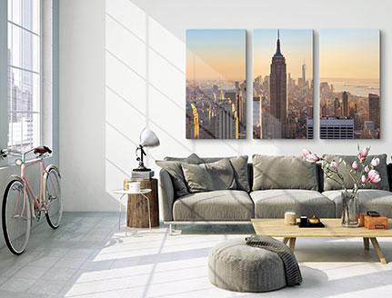 salon foto triptico paisaje urbano